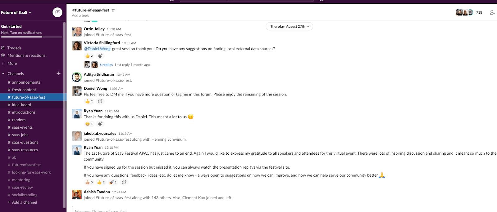 SaaS Slack community screenshot.